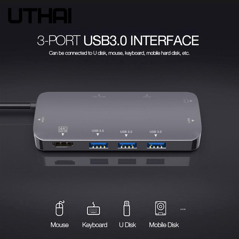 UTHAI J09 Type C Multi USB 3.0 HDMI adaptateur Dock pour MacBook Pro accessoires Type C 3.1 séparateur 3 ports USB C lecteur de carte HUB - 4