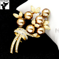 Luxury Brand Flower Brooch Pin for Women Korean Fashion Clothing Accessories Matte Gold Pearl Brooch Bouquet Collar Pins 2017