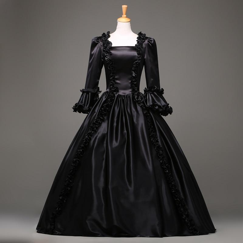 Hot Sale Black Gothic Victorian Dress Period Renaissance Rococo Belle Prom Gowns Theatre Clothing  Costume Dresses Plus Size