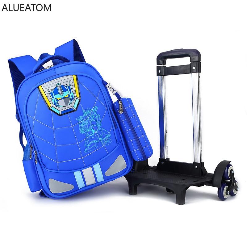 2019 Trolley School Bag Primary School Male Grade 3-6 Waterproof Backpacks Ridge Reduction Children Schoolbags With pencil case(China)