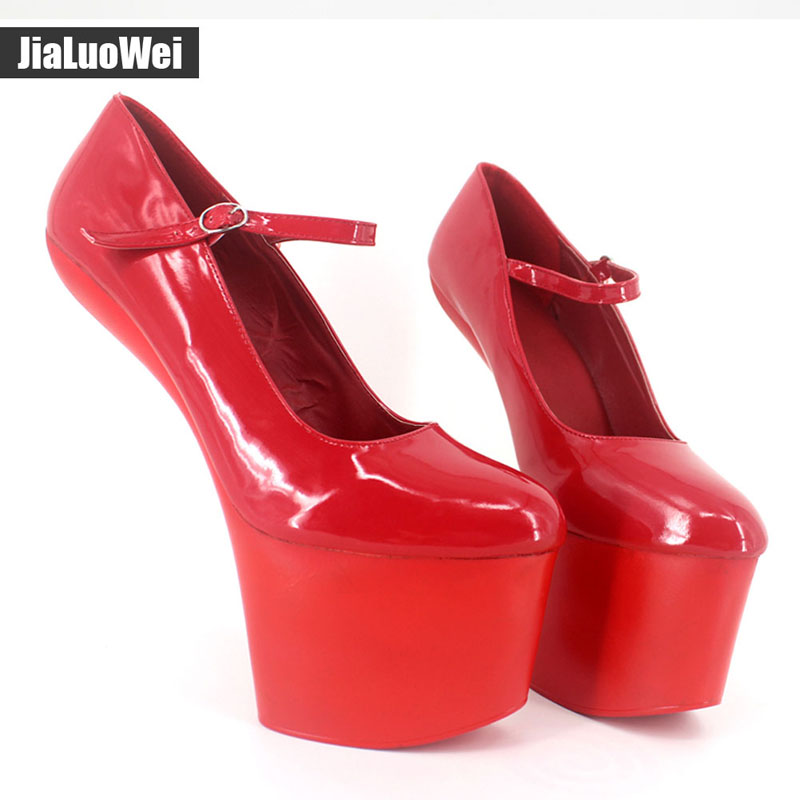 Jialuowei Extreme 8 inch High heels Sexy Fetish Strange Hoof heel Platforms shoes Costume Corset Goth No-Heel pumps for Women