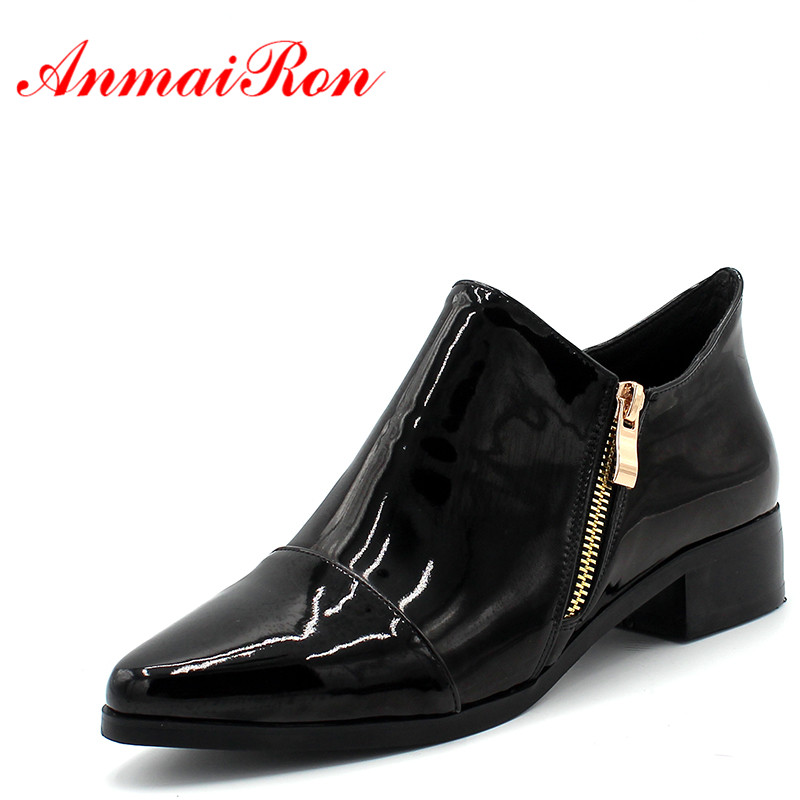 ANMAIRON Fashion Ladies Flats Shoes Woman Pointed Toe Zipper Oxfords Shoes Women Casual Black Wine red Low Heel Shoes Size 43 new brand spring pointed toe ladies shoes fashion snake style women flats casual leather shoes woman big size 34 43