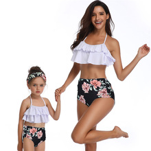 Купить с кэшбэком flouncing swimwear mother daughter swimsuits family look mommy and me clothes high waist bikini matching outfits beach dresses