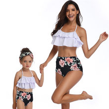 flouncing swimwear mother daughter swimsuits family look mommy and me clothes high waist bikini matching outfits beach dresses(Hong Kong,China)