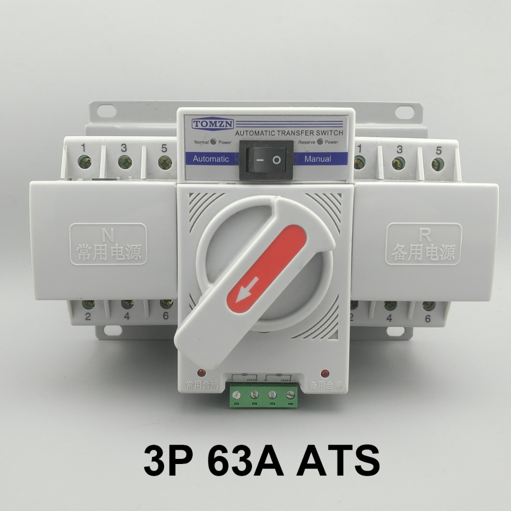 3P 63A 380V 50 60hz 3 wire MCB type Dual Power Automatic transfer switch ATS