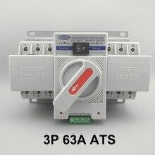 Interruptor de transferência automática, 3p 63a 380v 50/60hz 3 fios mcb tipo ats de alimentação dupla