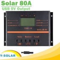 PWM Regulator solarny 12 V 24 V 80A Z Max 1920 W Panel Słoneczny Do Układu Słonecznego Kontroler Wyświetlacza LCD Y-SOLAR Solar 80