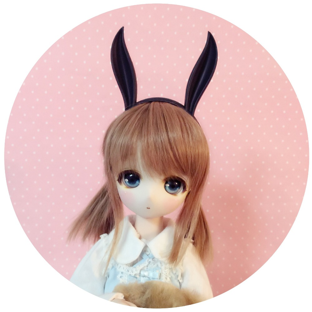 [wamami]Black Rabbit Ear for 1/3 SD DZ DOD BJD Dollfie [wamami] black leather cap hat 1 3 sd dod dz luts bjd dollfie