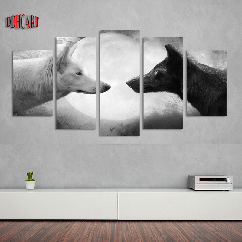 5 Piece Modern Canvas Art Wall Art Prints Painting Canvas Home Decor Poster Wolf Moon Picture