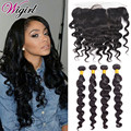 8A Peruvian Loose Wave with Frontal Ear to Ear Closure With Bundles Baby Hair Human Hair Weave Lace Frontals and Bundle Deals