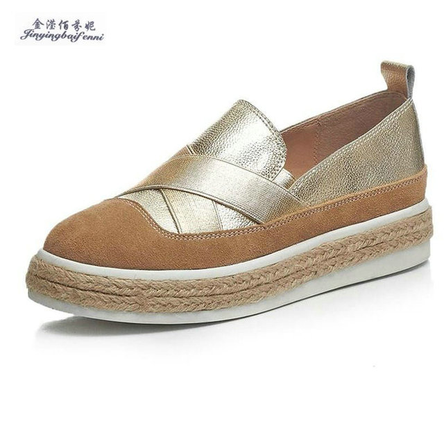 Fashion genuine leather women shoes woman flats lady casual shoes