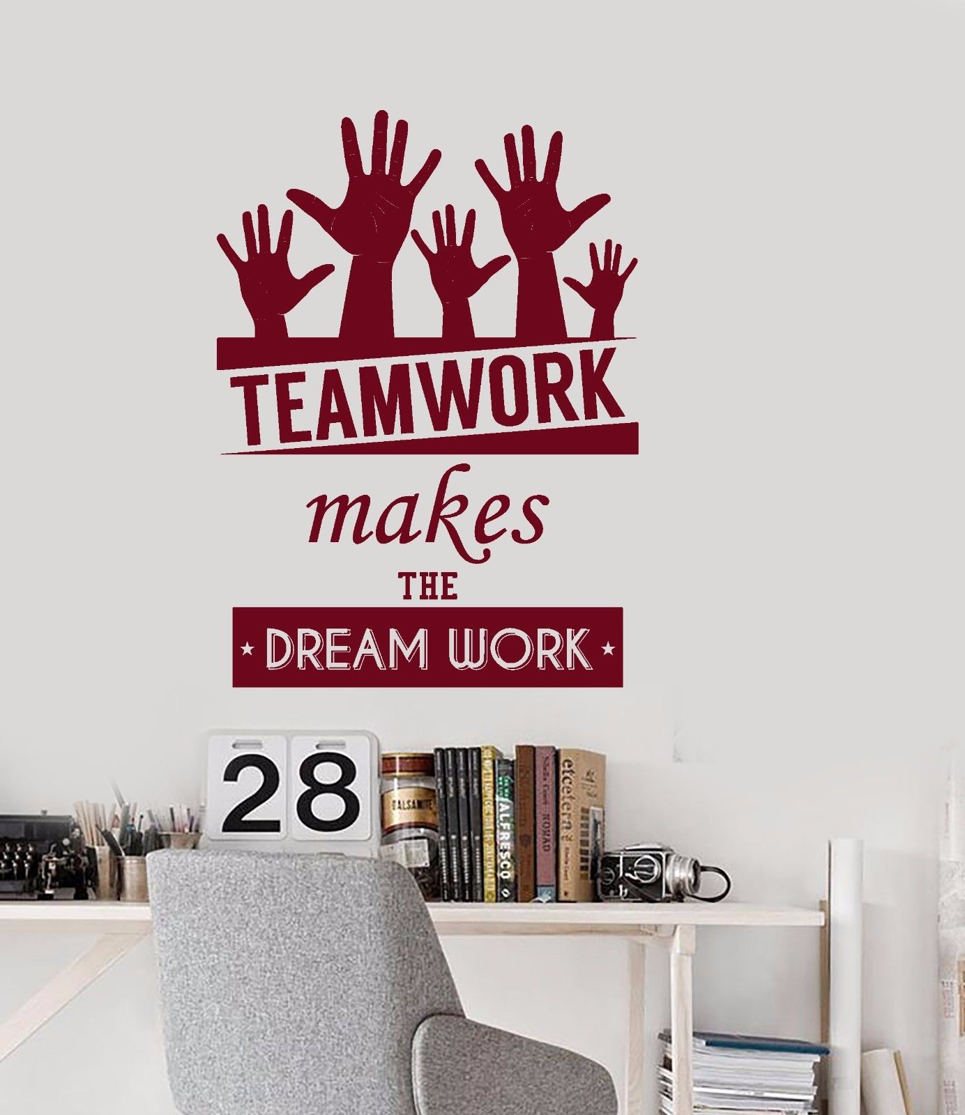 new wall vinyl decal quotes teamwork dream work office inspire words bedroom free shippingin stickers from home u0026 garden on aliexpresscom alibaba teamwork office wallpaper o12 office