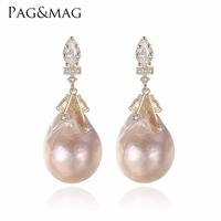 PAG MAG Brand Baroque Oval Shape Natural Freshwater Pearls Stud Earrings And 925 Silver Special For