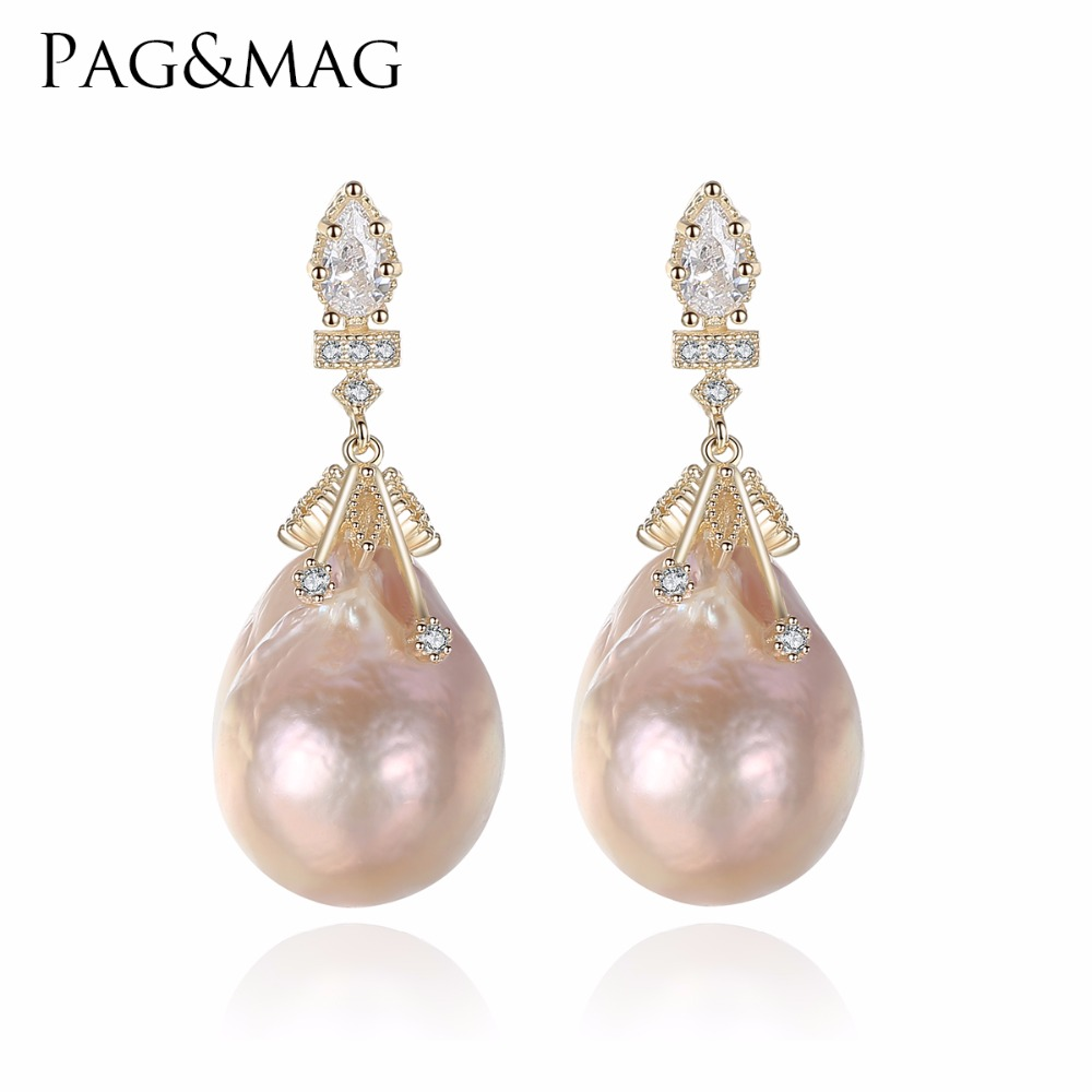 цена на PAG&MAG Brand Baroque Oval Shape Natural Freshwater Pearls Stud Earrings And 925 Silver Special For Women Fine Jewelry