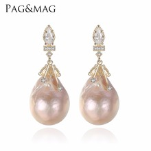 PAG&MAG Brand Baroque Oval Shape Natural Freshwater Pearls Stud Earrings And 925 Silver Special For Women Fine Jewelry