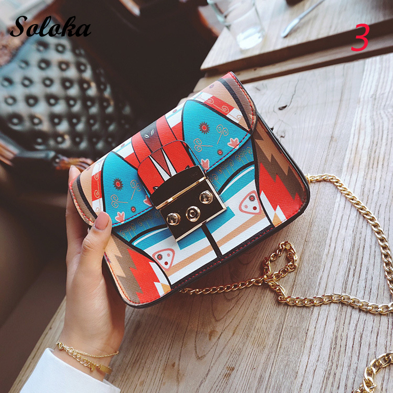 2018 New Mini Flap Crossbody Bags Fashion Hit Color Pu Leather Clutches Women Printing Chain Shoulder Bag Messenger