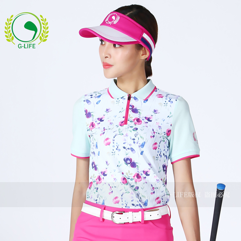 Lady spring golf shirt summer elastic women sports shirt sweat absorbing short-sleeve T-shirt quick-drying short culottes top цена