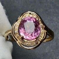 18 k złota różowy turmalin pierścień naturalny kamień pierścionek zaręczynowy ślubne