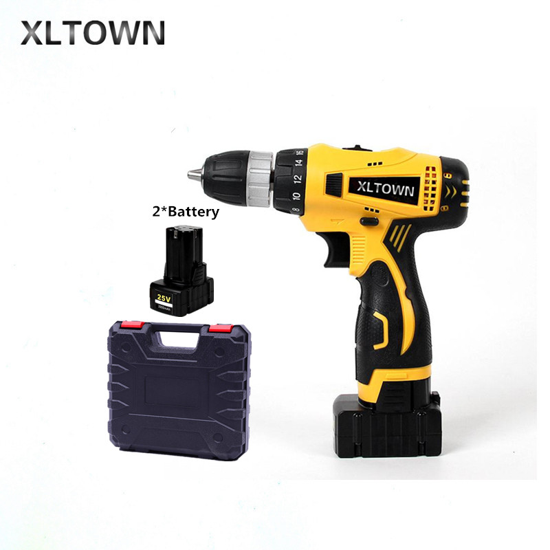 XLTOWN 25V Electric Drill with 2 battery 2000mA Large Capacity Lithium Battery Electric Screwdriver Household Electric Drill 2016 promotion new standard battery cube 3 7v lithium battery electric plate common flat capacity 5067100 page 2