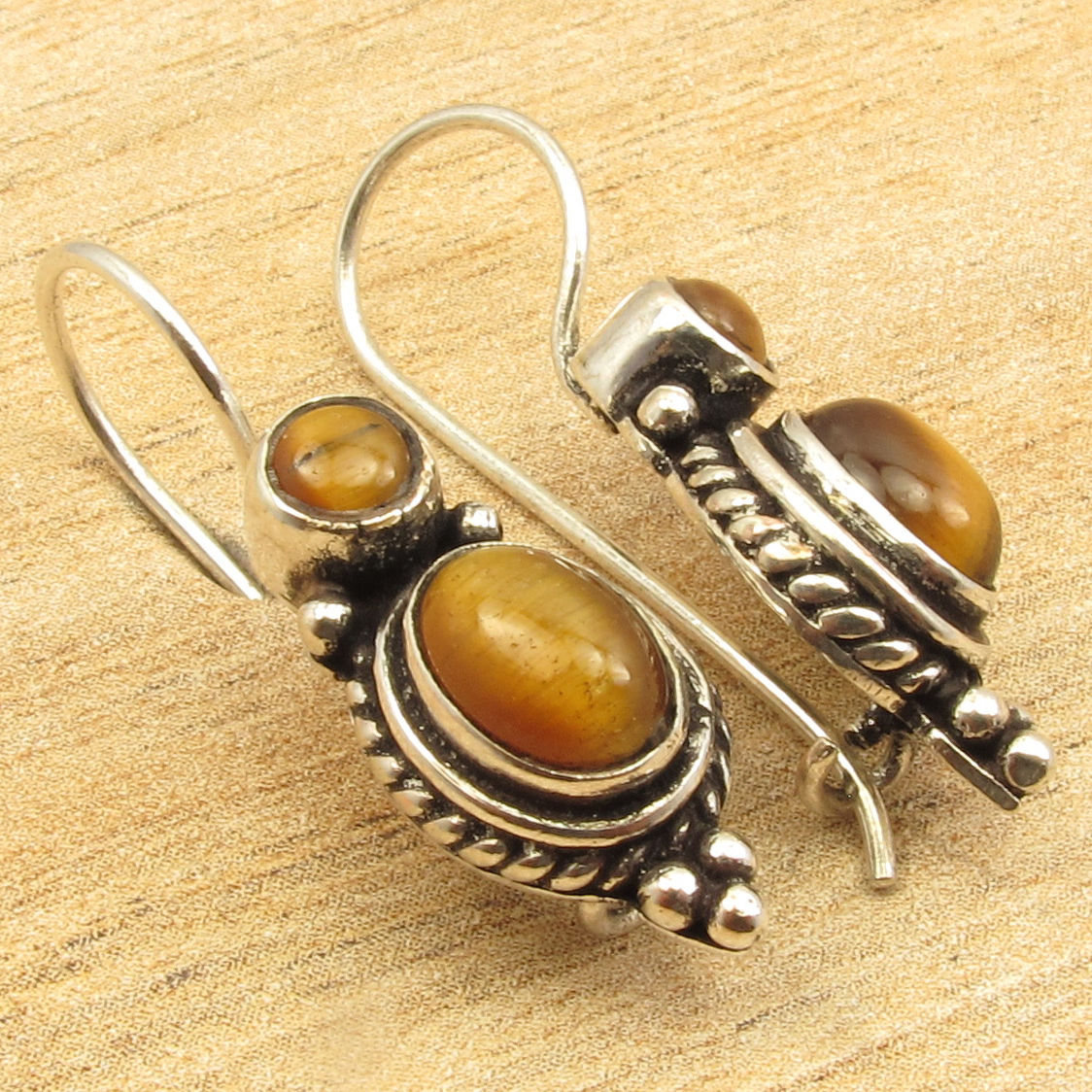 Silver Overlay Cab Brown TIGERS EYE 2 Gem Earrings 1 1/8 inches ONLINE BUY