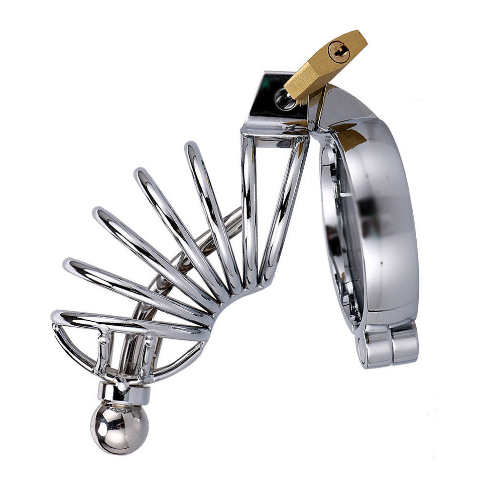 Male Chastity Device Long Cage Belt With Urethral Dilator Plug Male Bird Cage Cock Lock Bondage Sex Toys Cock Ring Assorted