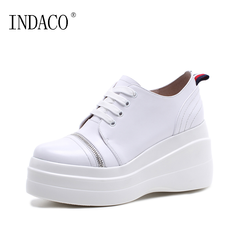 Здесь продается  2018 New Genuine Leather Wedge Casual Sneakers Round Toe White Black Brown 9cm Zapatillas Mujer Casual   Обувь