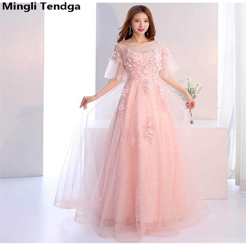 Mingli Tengda Pink Long   Bridesmaid     Dresses   Elegant Lace   Bridesmaid     Dress   Dignified   Dress   Women for Wedding Party O-neck Simple