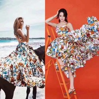 The new summer print dress cate selfportrait cotton sarafans vadim sexy floral women's clothes vestidos verano 2018 club dresses