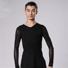 2018 Sale Limited Men Latin Dance Dress Adult Ballroom Competition Dresses Man V neck Tops shirts