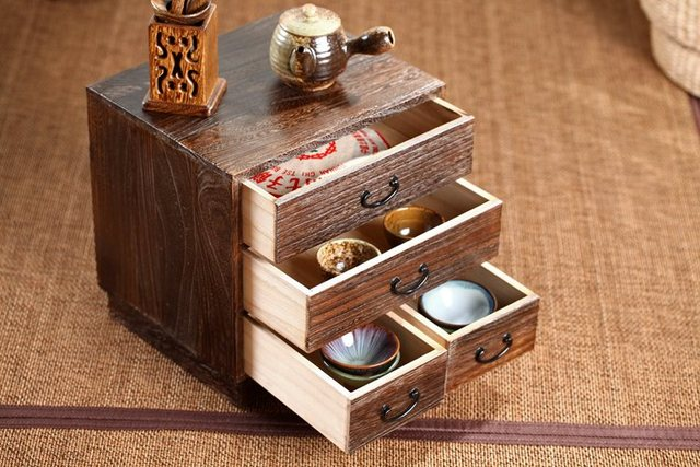 Japonais Antique En Bois 4 Tiroir Cabinet Paulownia Bois Asiatique