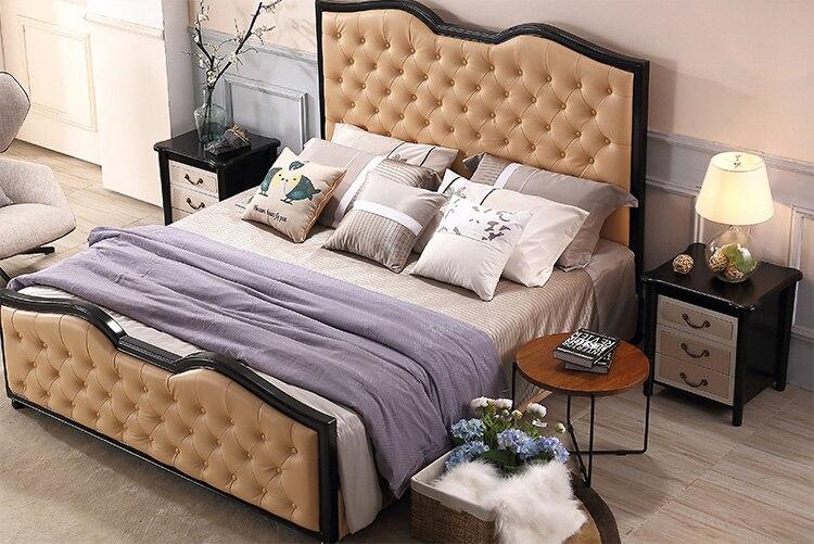 Europe and America Genuine leather bed frame Soft Beds Home Bedroom Furniture cama muebles de dormitorio / camas quarto 1.8*2 m