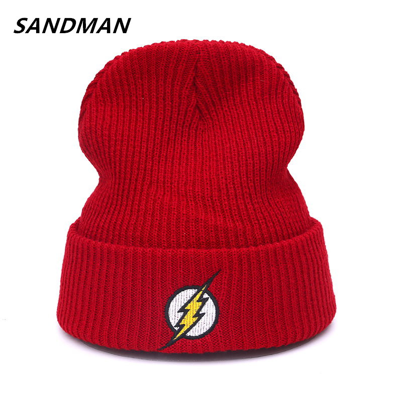 SANDMAN The Flash Hero Barry Allen Embroidery Winter Hats Soft Solid Beanie Men Women HipHop Warm Knitted Red Caps Hat the sandman 4