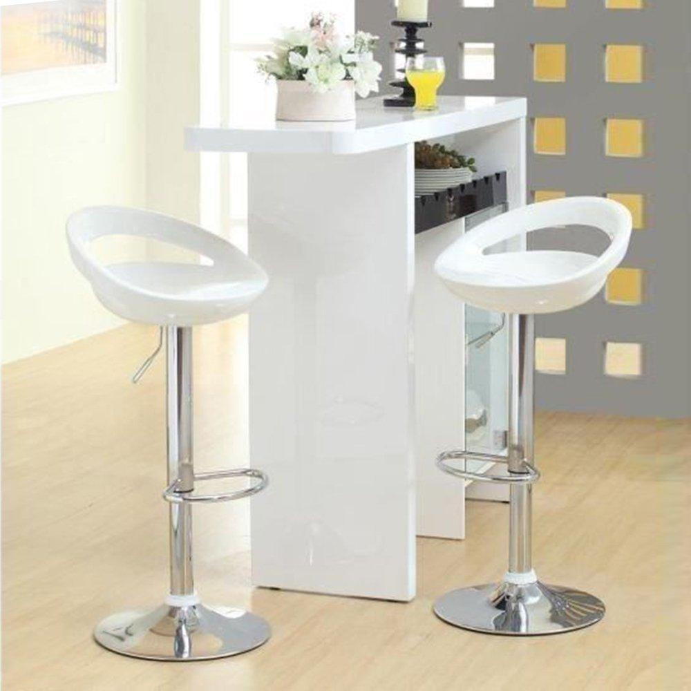 Hot 2pcs Adjustable Gas Lift Bar Stools ABS Plastic Seat Moon Shaped Bar Chairs Taburete Bar 5 Color HWC