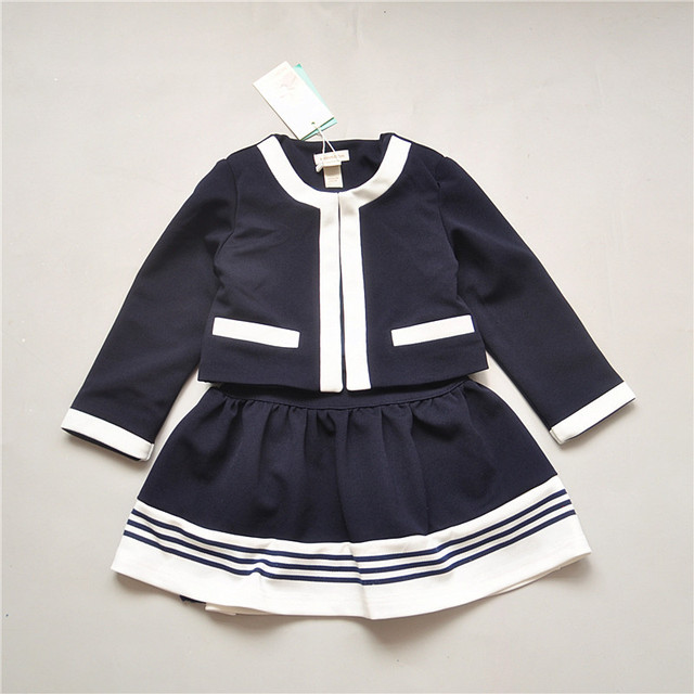 2016 Spring Fashion Girl's Suits 2-Piece Set Big Children's Coat + Skirt Kids Formal Clothing Sets Child Tops Outerwear 4-14T