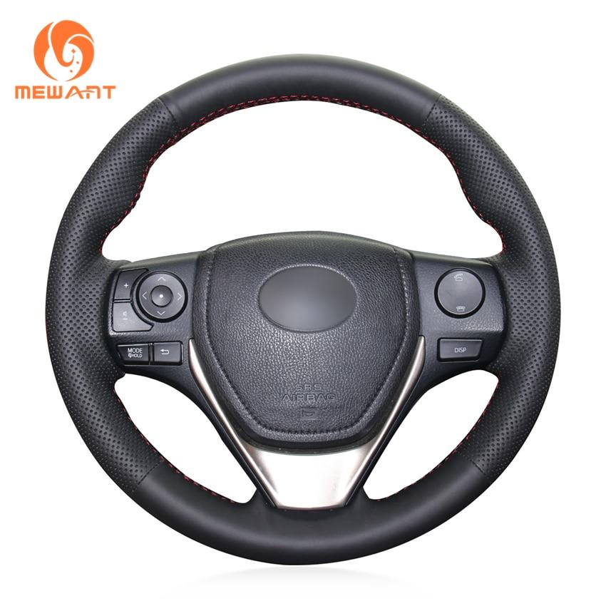 MEWANT Black Genuine Leather Car Steering Wheel Cover for Toyota 2013-2018 Corolla 2014-2019 Corolla iM (US) 2017-2018 Auris цена