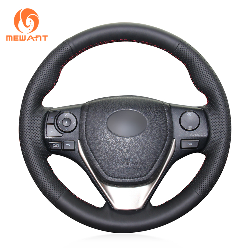 MEWANT Black Genuine Leather Car Steering Wheel Cover for Toyota RAV4 2013-2017 Corolla 2014-2017 Auris 2013-2016 Scion iM 2016