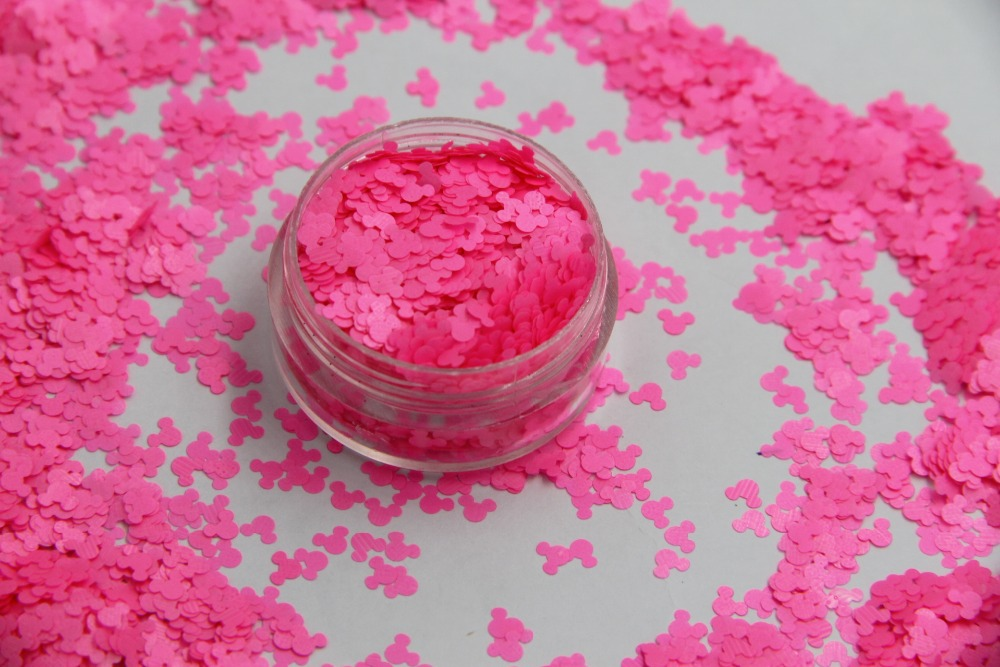 TCF509 Solvent resistant Neon Pink Color Mickey Mouse shape Glitter Spangles for Nail Polish and Other DIY decoration 1Pack =50g tcf510 solvent resistant neon rose carmine color mickey mouse shape spangles for nail polish and other diy decoration1pack 50g