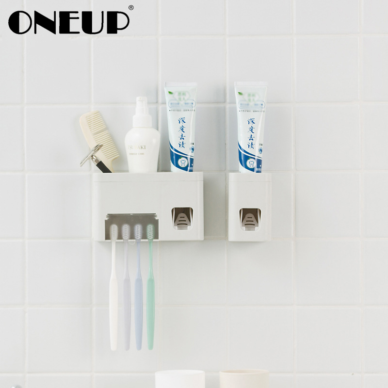 ONEUP High Quality Bathroom Accessories Automatic Toothpaste Dispenser Squeezer Wall Mount Suction Toothbrush Holder Organizer