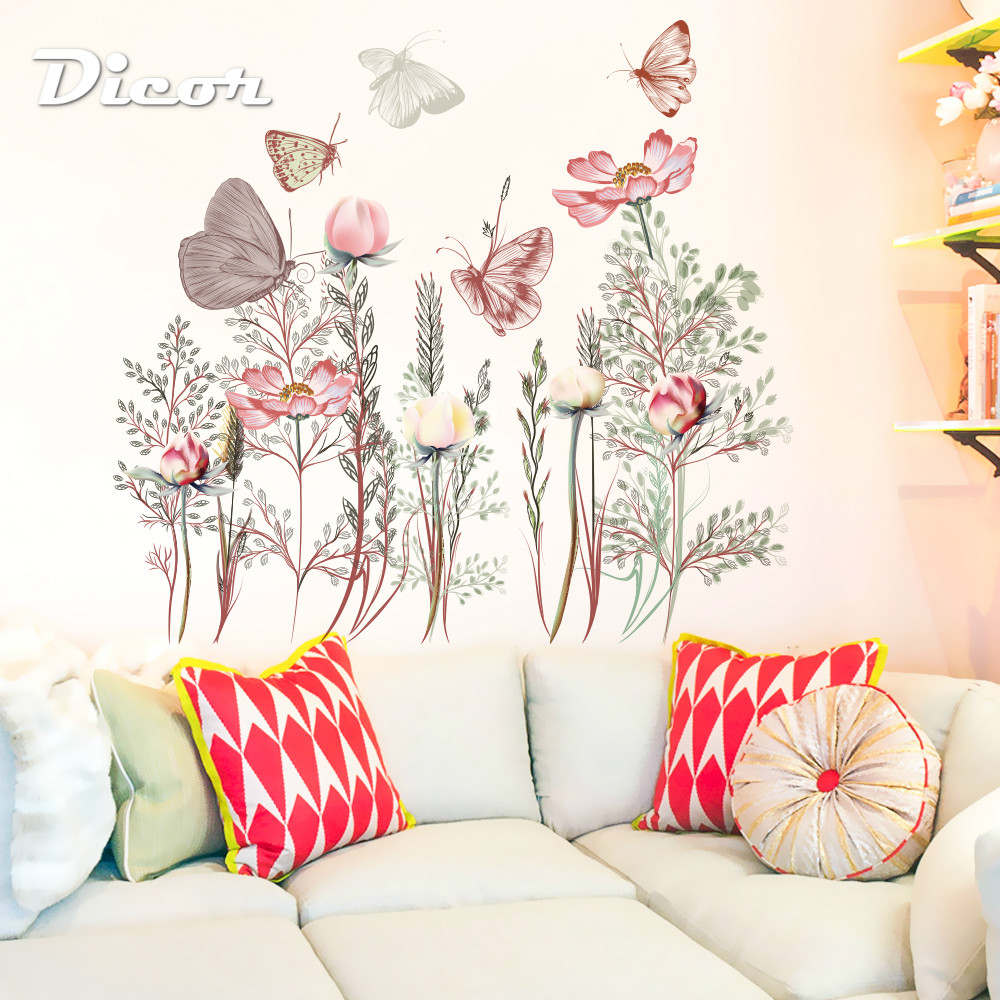 DICOR Beautiful Butterflies Wall Stickers Flowers Bouquet For Livingroom Photography Background Home Decor QT1088