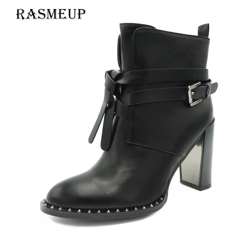 RASMEUP Winter Women's Rivet Buckle Gothic Punk Ankle Boots Black Women High Heel Martin Boots Zipper Woman Motorcycle Shoes women martin boots 2017 autumn winter punk style shoes female genuine leather rivet retro black buckle motorcycle ankle booties