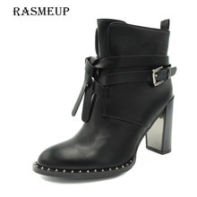 RASMEUP Winter Women's Rivet Buckle Gothic Punk Ankle Boots Black Women High Heel Martin Boots Zipper Woman Motorcycle Shoes