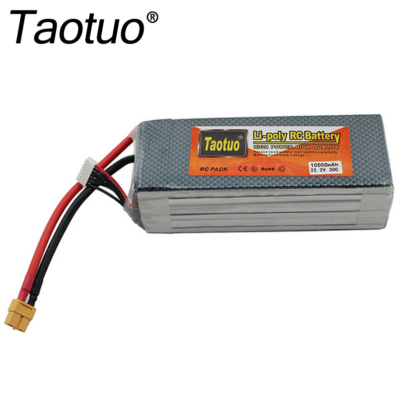 Taotuo Power Lithium Polymer Lipo Battery 22.2v 10000mah 30C 6S XT60 Plug For RC Quadcopter FPV Multicopter Model Parts Bateria lion power li po 11 1v 5300mah 40c high capacity lithium polymer battery for rc heli cars truck r c model toy free shipping