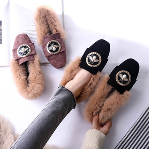 Image 4 - Woman Warm Snow Boots Genuine Leather Wool Winter Flat Shoes Ladies Fur Ankle Boots Plus Size Bee Fashion Moccasins Footwear New