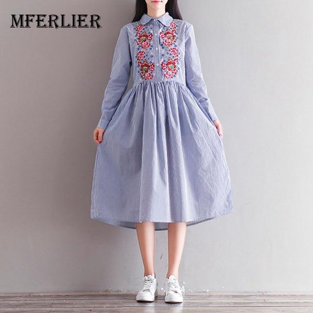 f85c86397bb7bc Autumn Dress Striped Print Cotton Linen Shirt Dress Casual Long Sleeve  Embroidery Vintage Dress Women Clothing Size M-2XL