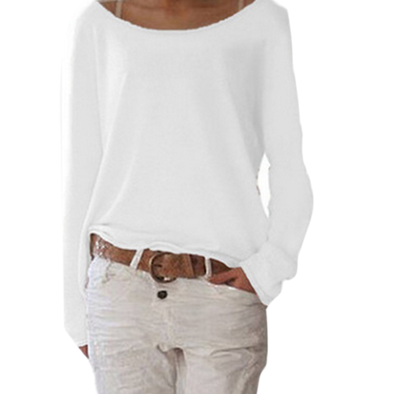 Women Autumn T-shirts Long Sleeves Big Round Neck Pullover Loose Slim Fit Tops QL Sale