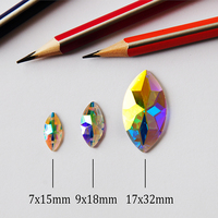 2103TH 2 holes Navette DIY Sew On AB Strass Different Sizes Flat Back Glass gem Stone Round Garment Dress Accessories