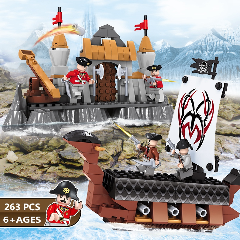 Enlighten Pirates of the Caribbean Island Pirates Caribbean Ship Model Kit Building Block Bricks With Minifig Castle Arms new lepin 16009 1151pcs queen anne s revenge pirates of the caribbean building blocks set compatible legoed with 4195 children