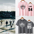 kpop BTS plates youth mood with a striped T-shirt support costume around summer female k-pop Bangtan Boys T shirt k pop Tshirt