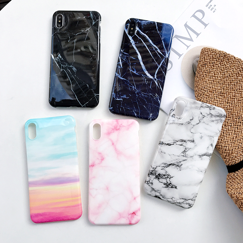 50pcs Luxury Marble Silicone Case For iPhone XS Max XR X Cover For iPhone 8 Plus