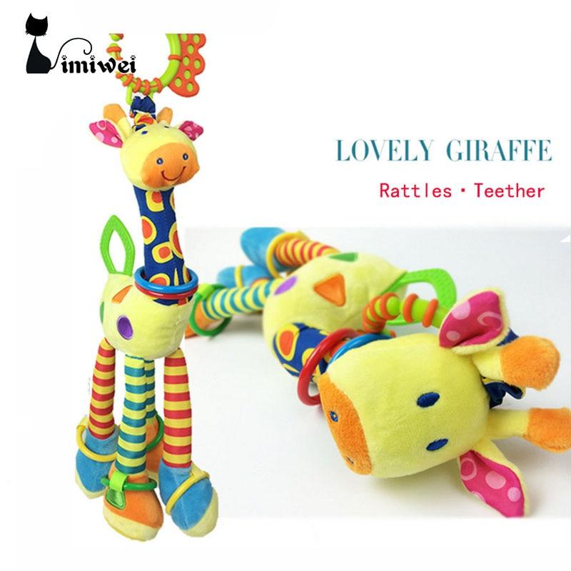 2018 Nya söta babyleksaker Giraffpussel Leksaker för nyfödda Mobilitet i Cribbed Trailer Hängande med Rattles BB Device Teether